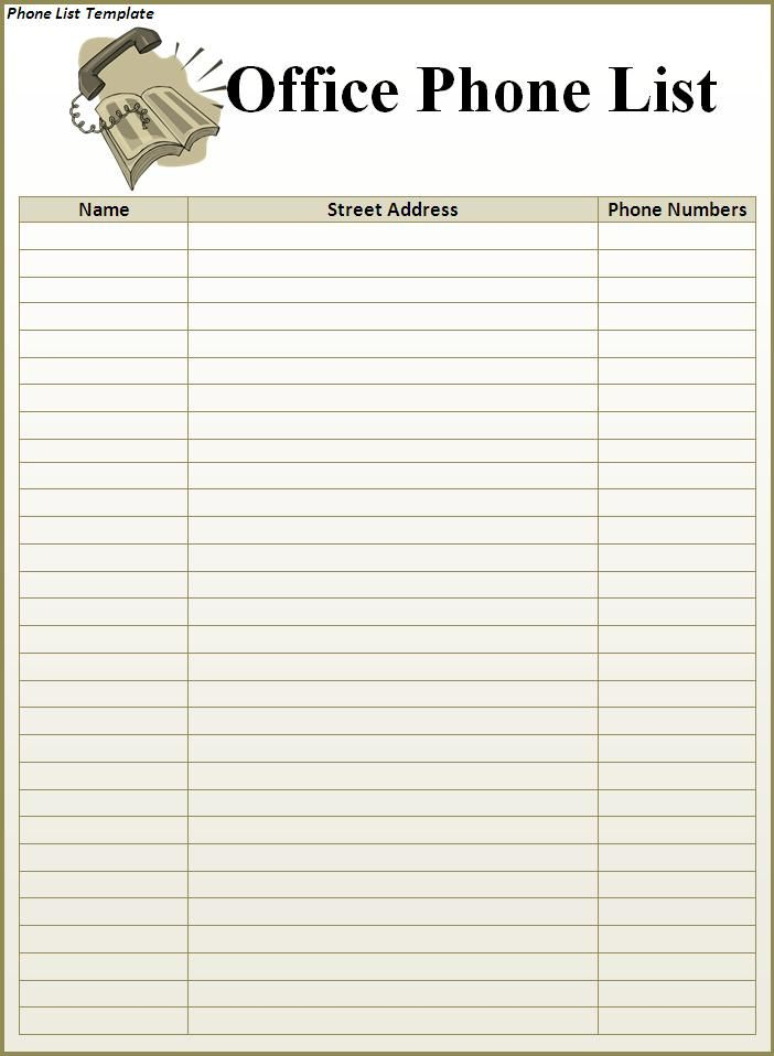 Superior Free Editable In MS Word Phone List Template   Use In Home Binder Regard To Phone Roster Template