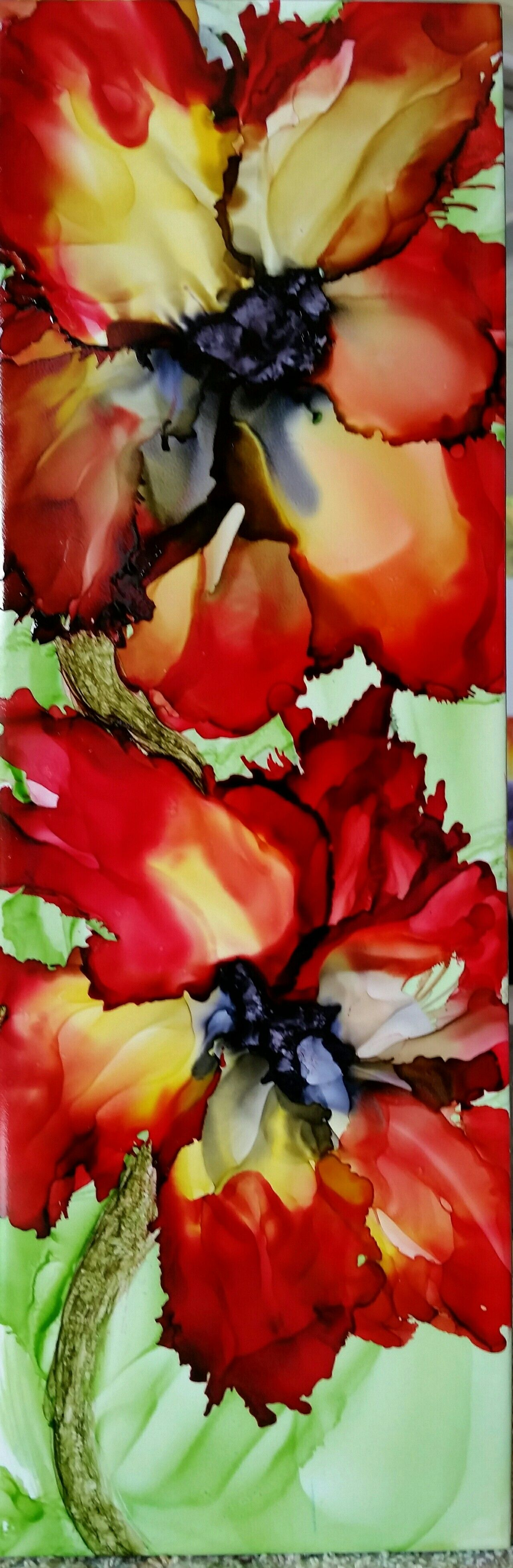 My favorite colors, flowers in alcohol ink on long 12x4 ceramic tile ...