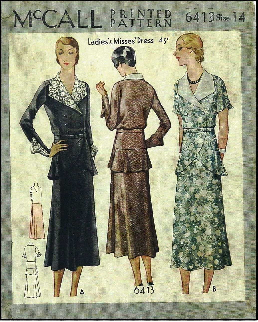 1930s Lades Dress Sewing Pattern - McCall #6413
