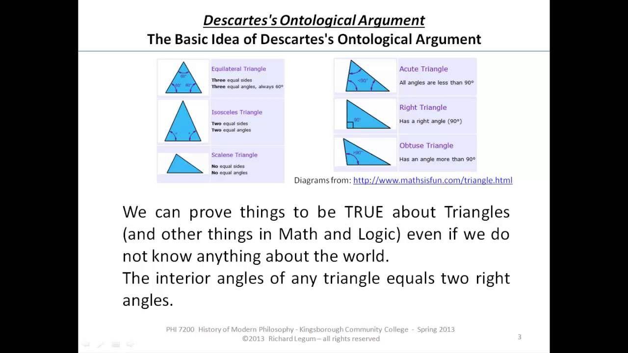 Descarte Ontological Argument Existence Of God Right Triangle Philosophy Essay