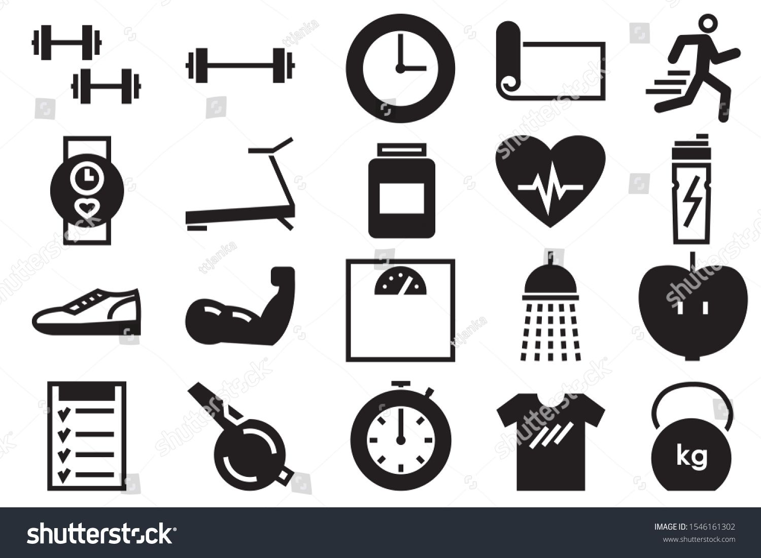 fitness and sport isolated icons set on white background. Vector illustration on the white backgroun...