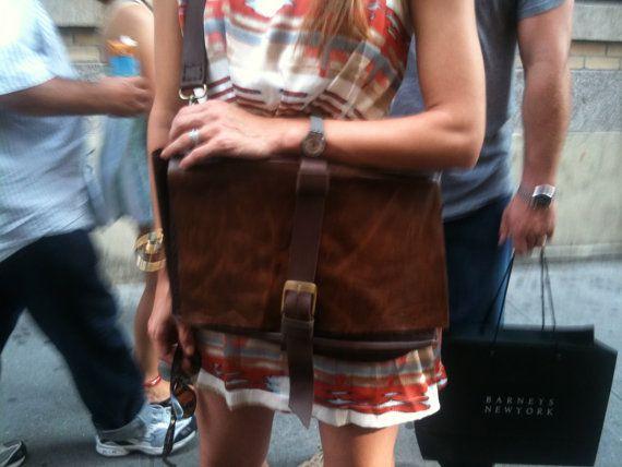 Messaggero di cuoio fatti a mano borsa di LUSCIOUSLEATHERNYC