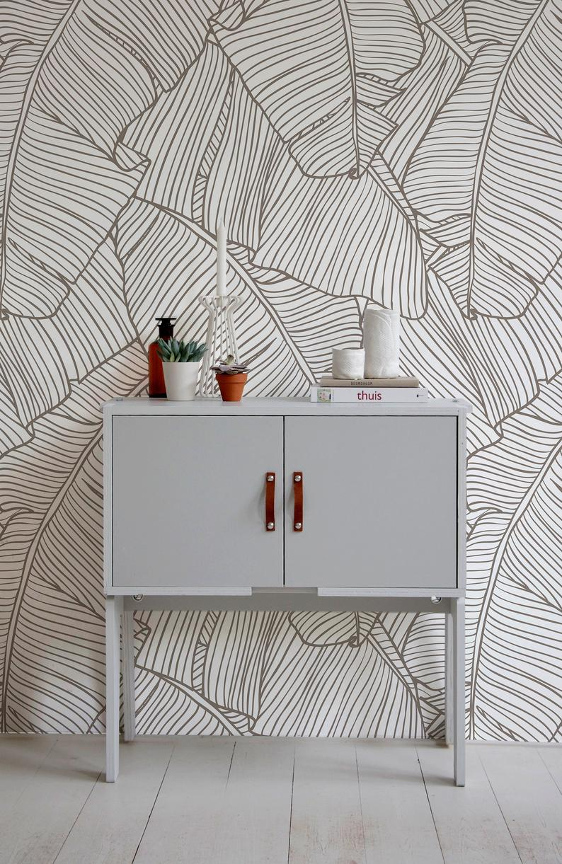 Removable Wallpaper Peel And Stick Wallpaper Wall Paper Wall Etsy In 2020 Removable Wallpaper Banana Leaf Wallpaper Peel And Stick Wallpaper