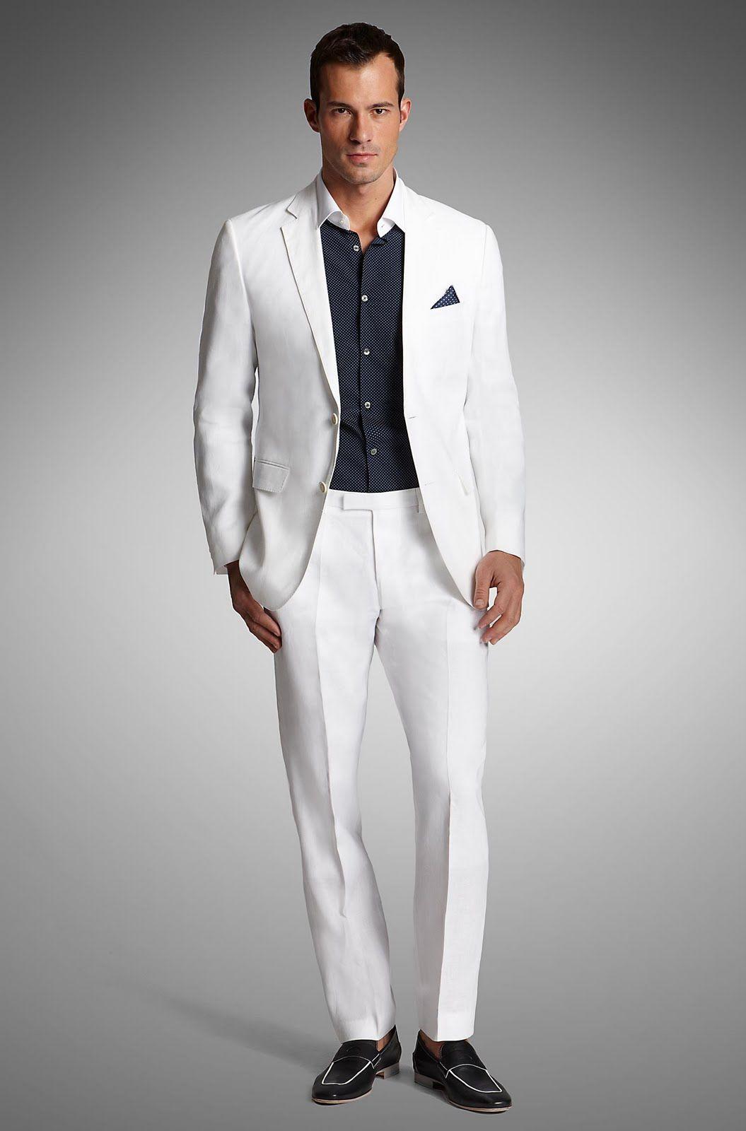 Black Men Fashion | Brand: White Classic Fit Lightweight Linen ...