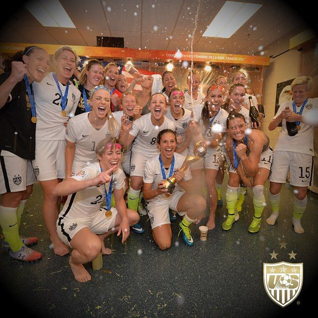 This is what the #USWNT locker room looked like after winning the World Cup!