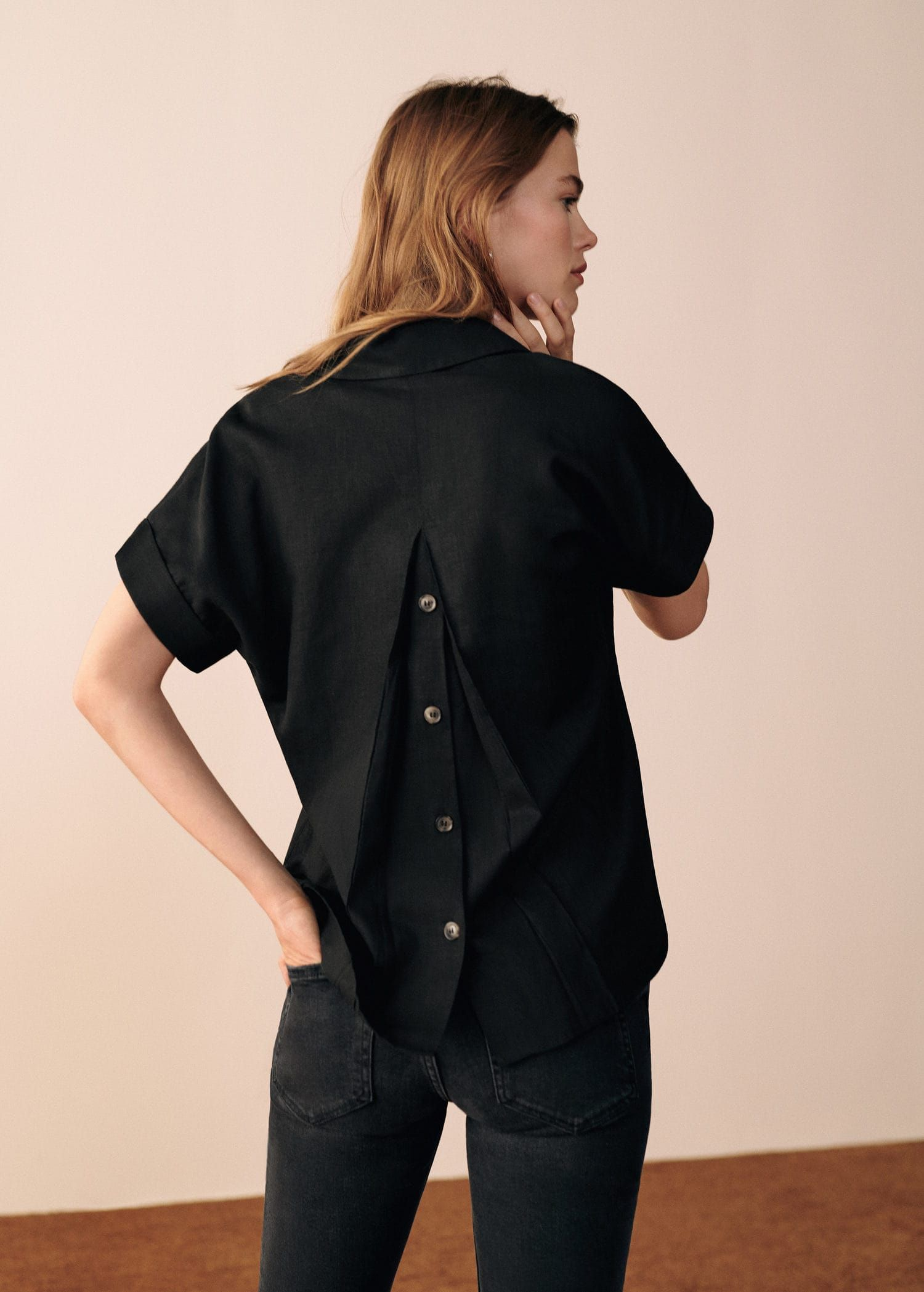 ffdaa40577a Short sleeve linen-blend shirt - Women in 2019 | Wear | Pinterest ...