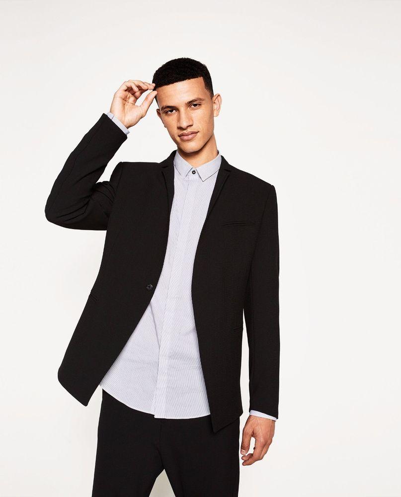 2dfcd8d7 $169 NEW Men's Zara Man Solid 2-Button Blazer Sport Coat Jacket Black XL  Bin 3 #ZARA #TwoButton