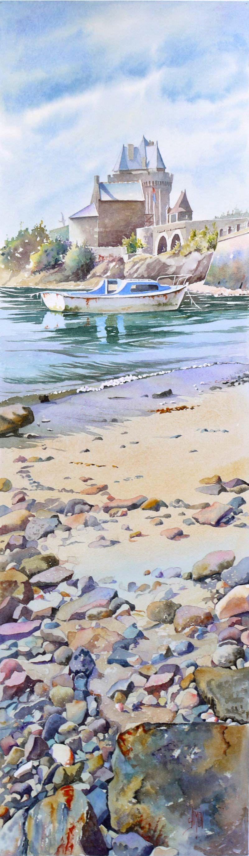 galets de saint sevran jo l simon la mer en peinture the sea in painting aquarelle. Black Bedroom Furniture Sets. Home Design Ideas