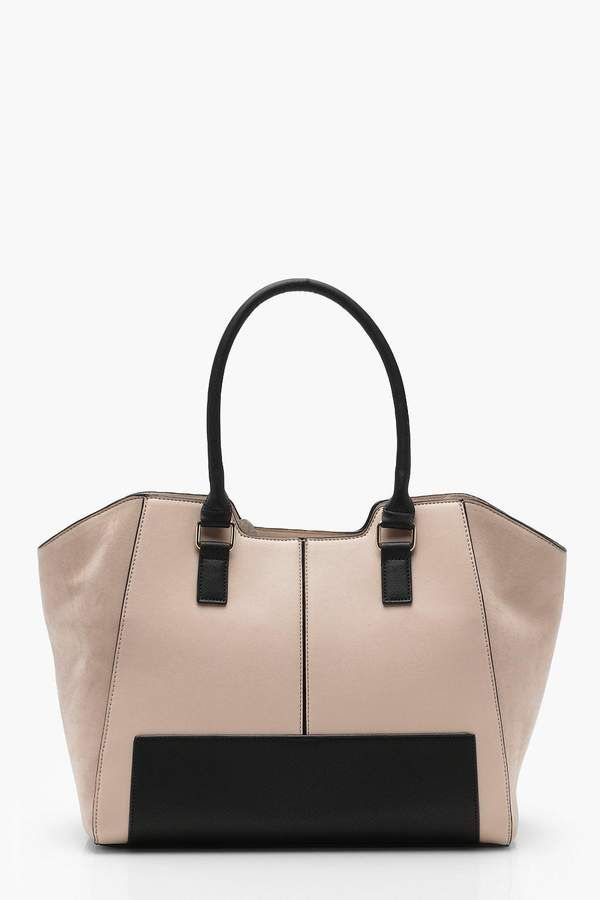 Boohoo Colour Block Winged Tote Bag