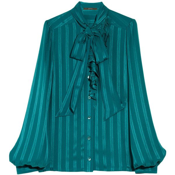7656ce22629b Gucci Ruffled silk-jacquard pussybow blouse ($485) ❤ liked on Polyvore  featuring tops, blouses, shirts, gucci, blue blouse, blue striped shirt,  blue silk ...