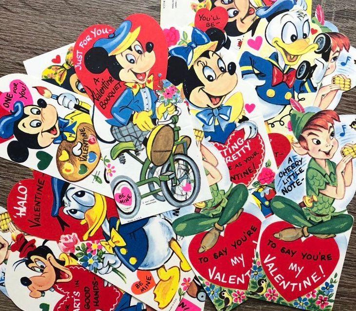 Vintage Disney Kid Classroom Valentine Card Unused Lot 16 Donald Duck  Minnie Mickey Mouse Goofy Peter Pan