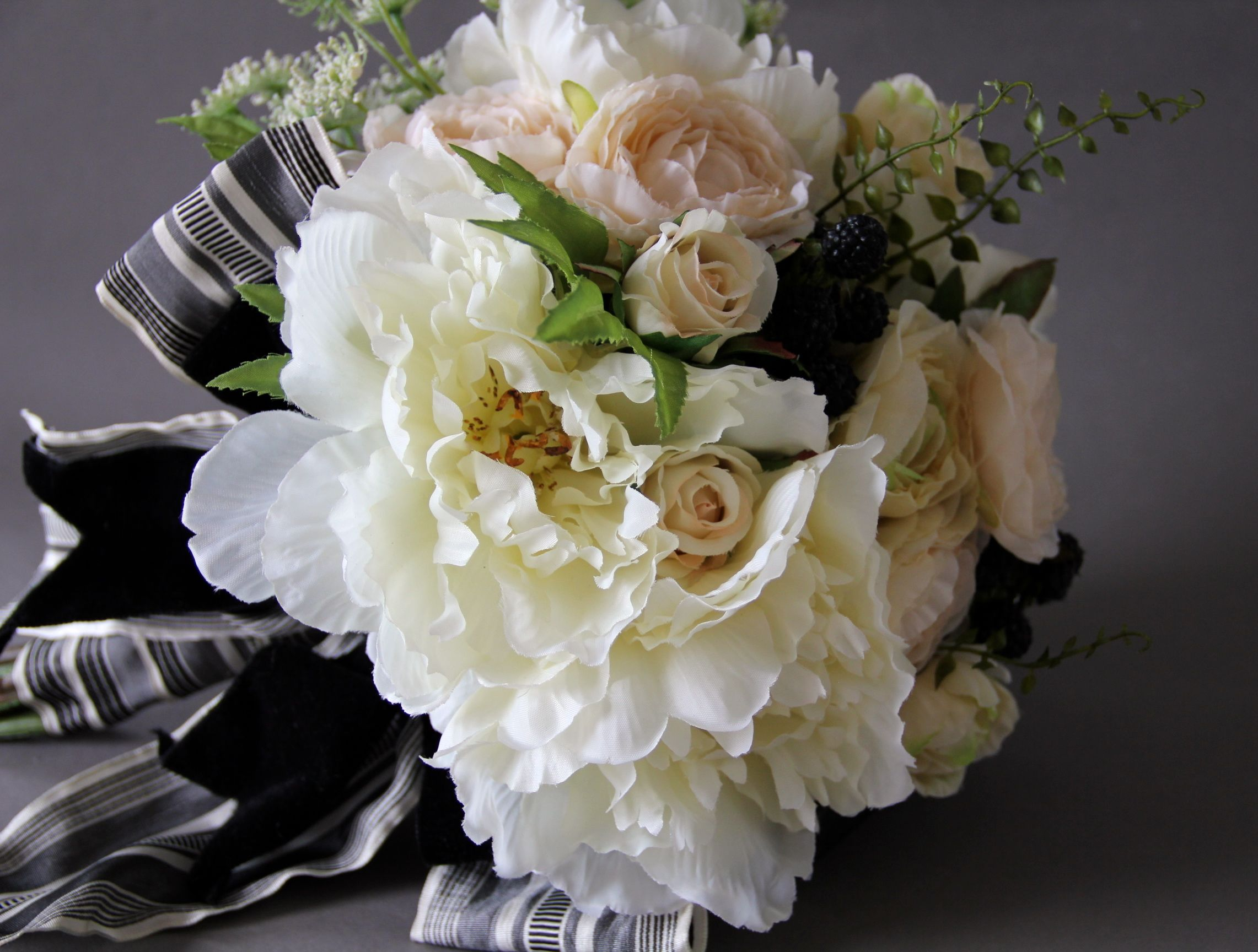 Artificial Silk Flower Wedding Bouquet White Peoniesdusty Pink And