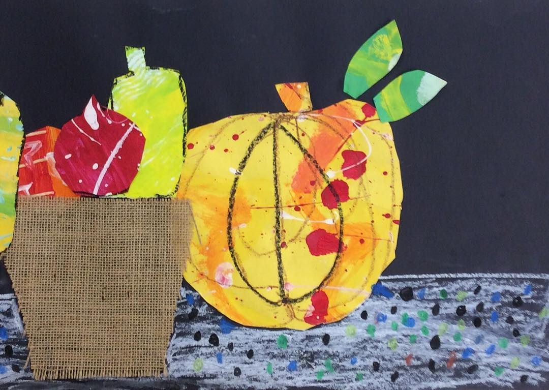 Could this be any cuter?! Kindergarten will be taking their Harvest Still Life #mixedmediacollage home this week! Parents, get your frames and wall space ready! #hecoonartists #artteachersofinstagram #kindergartenart #elementaryart