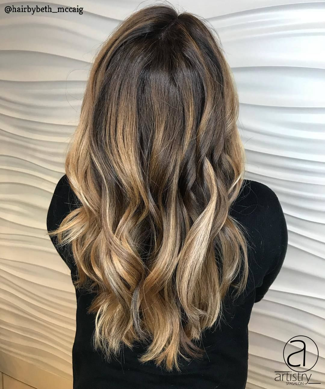 Dimensional brunette with blonde ends by beth mccaig beth mccaig