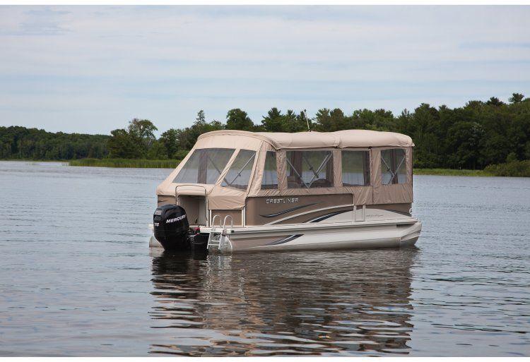 Pontoon boat enclosures new boats crestliner boats for Fish camping boat