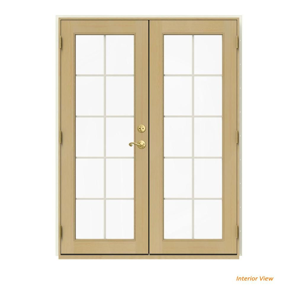 Jeld Wen 60 In X 80 In W 2500 Vanilla Clad Wood Right Hand 10 Lite French Patio Door W Unfinished Interior White French Doors Patio Patio Doors Wood Swing
