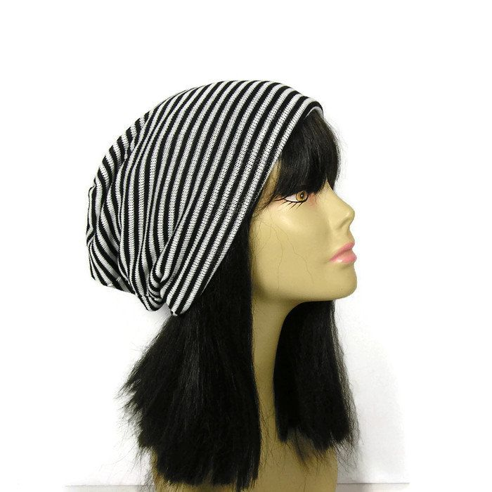 555e66bdf85 Black and White Stripe Hat CUSTOM SIZES Striped Sweater Knit Slouchy ...