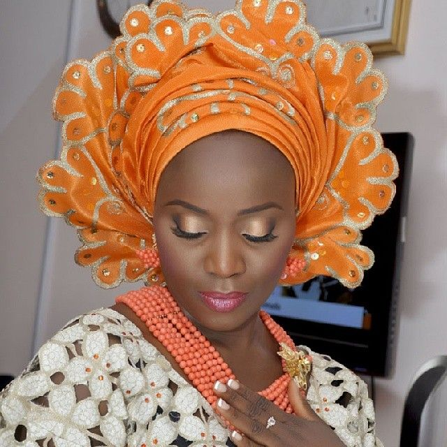 Traditional Nigerian Wedding Gifts: Beautiful Orange Gele! Follow @ChiefWedsLolo.com