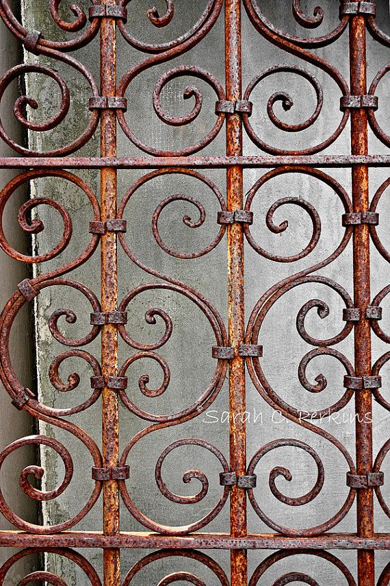 Rusty Gate Ornate Wrought Iron Photography Wrought Iron