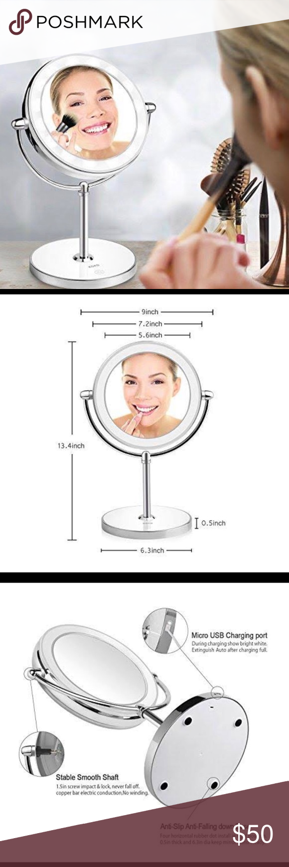 Spaire Vanity Makeup Mirror 10X/1X Magnifying LED Light