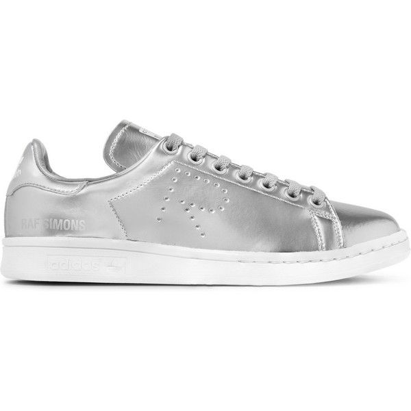 Adidas Originals + Raf Simons Stan Smith perforated metallic leather... (¥35,410) ❤ liked on Polyvore featuring shoes, sneakers, silver, leather lace up shoes, metallic shoes, lacing sneakers, low profile sneakers and adidas originals sneakers