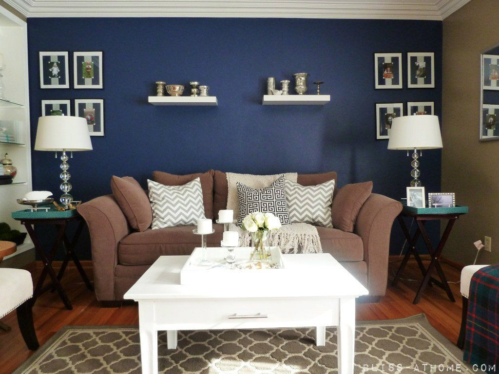 Navy blue accent wall love how bright and rich it is for Living room navy walls