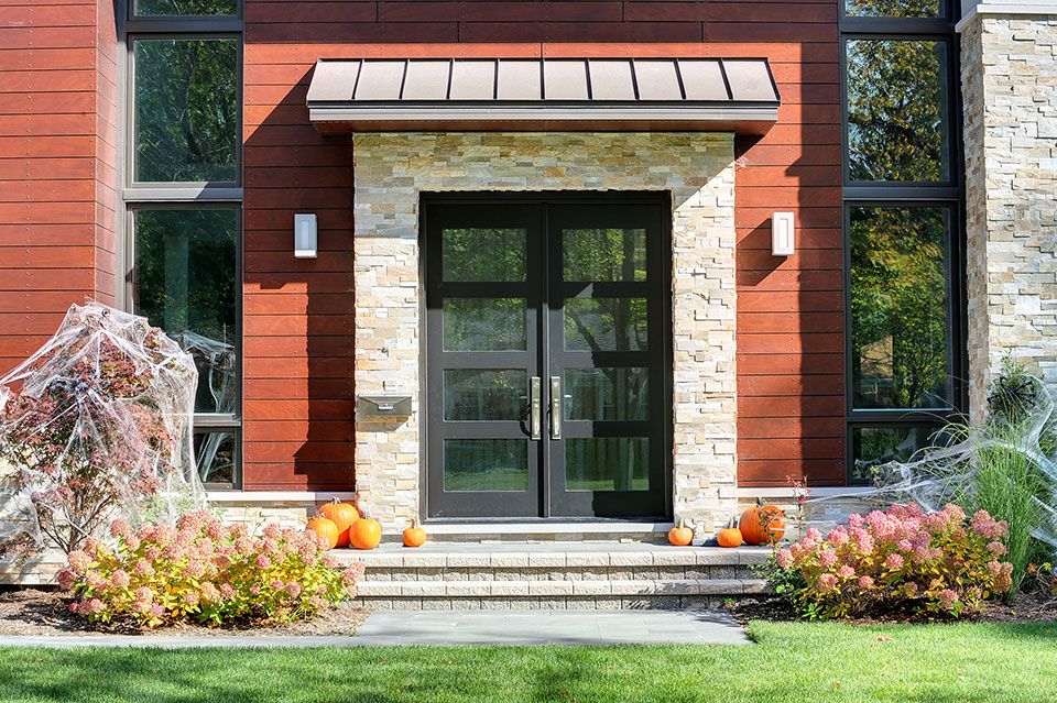 Custom Modern Wood Double Door With Insulated Privacy Glass