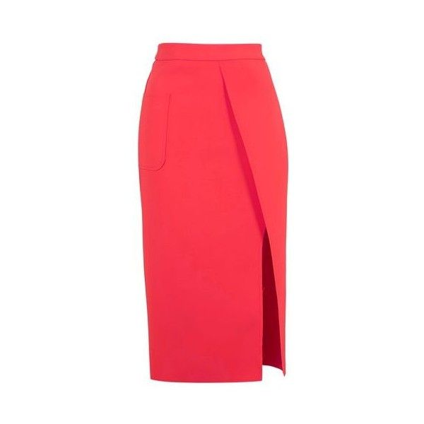 1b622eb4e0 TopShop Pocket Wrap Skirt ($71) ❤ liked on Polyvore featuring skirts,  coral, structured skirt, pocket skirt, red wrap skirt, midi skirt and calf  length ...