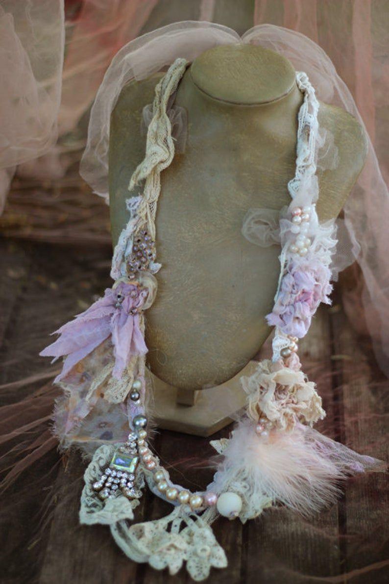 FleursBoheme brocante necklace boho chic delicate summer | Etsy