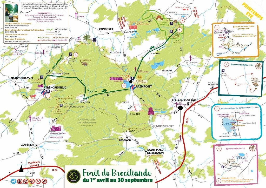 Karte Broceliande Karten Ausflug Urlaub