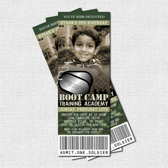 CAMOUFLAGE TICKET INVITATIONS Birthday Party Army Boot Camp - printable ticket invitations