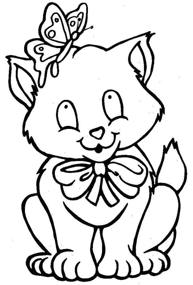 Cat And Butterfly Coloring Pages | Pre-K: Color Pages | Pinterest