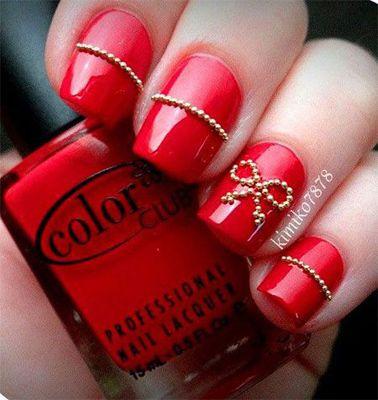 unghii rosii cu gel mirese 2014  wedding nail art design