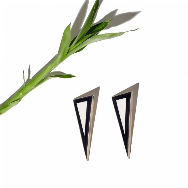 "The ""Bone-ification Earrings II"" in Black - Bone and Metal. Also available in Green, White and Turquoise. Online at www.ParmeMarin.com #ParmeMarin #Statement #Colorful"