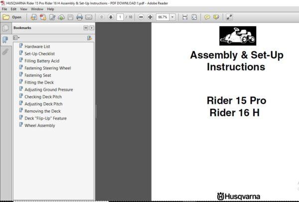 Husqvarna Rider 15 Pro Rider 16 H Assembly Set Up Instructions Husqvarna Instruction Assembly