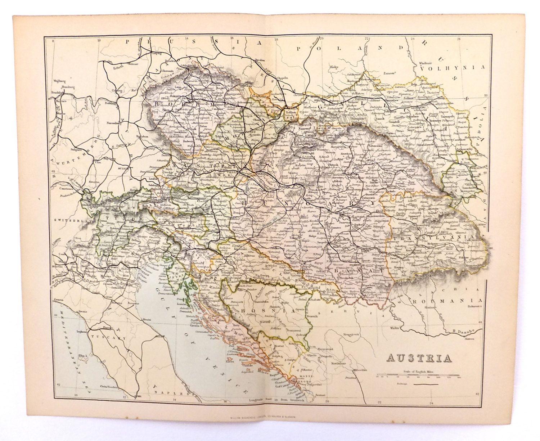 austria 19th century map of austria vintage map of austria austria 19th century map of austria vintage map of austria hungary map of hungary 1880s antique history buff home decor office decor