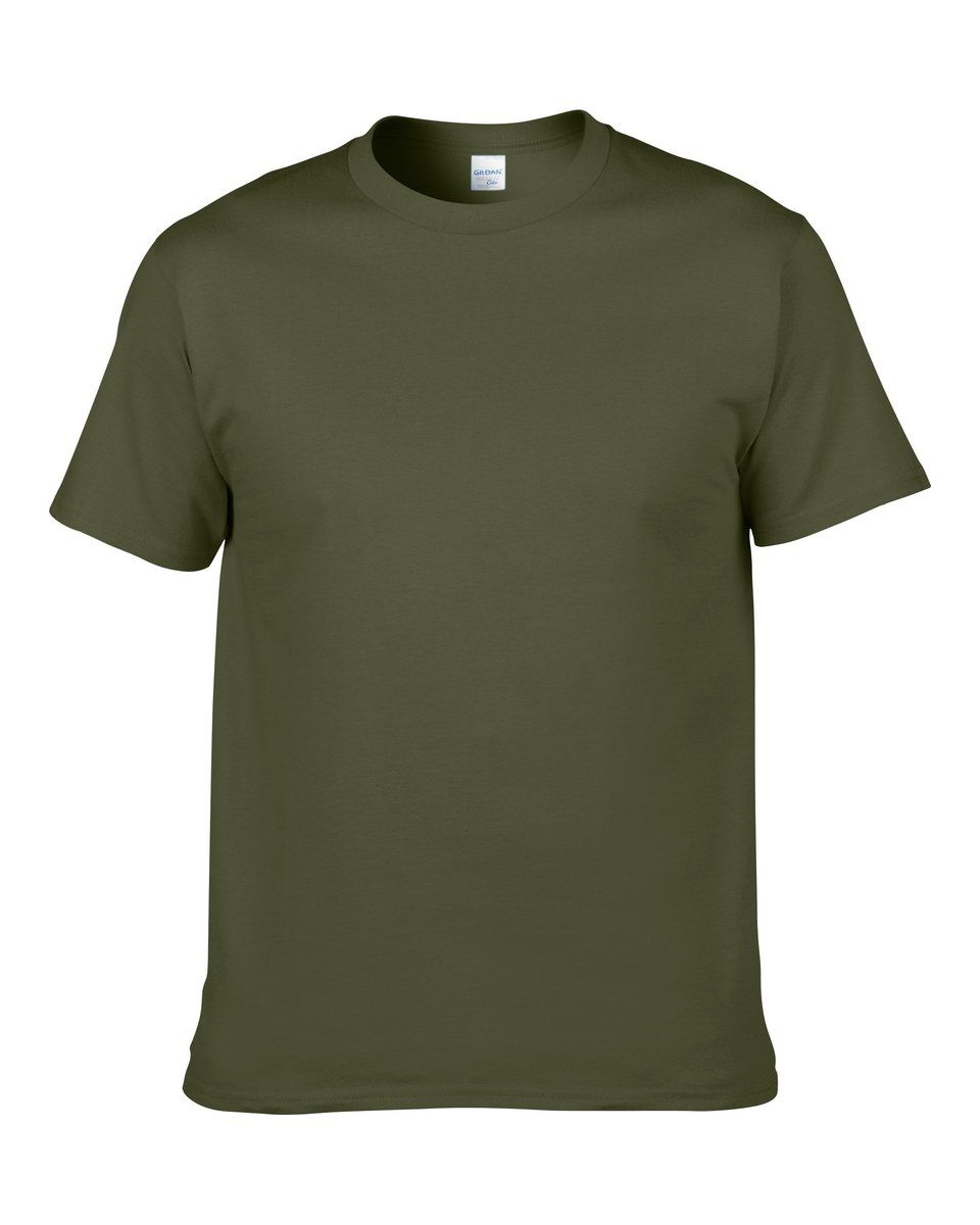0eb07be1506d Men's Solid Color Round Neck Short Sleeve Cotton T-Shirt (Army Green ...