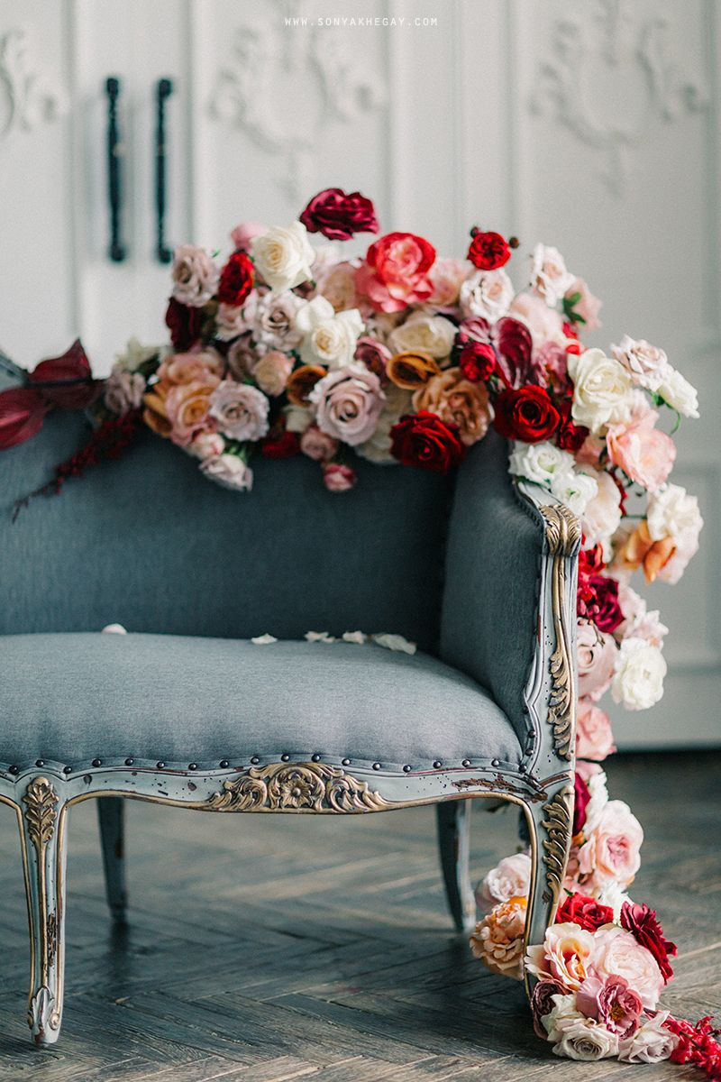 Wedding decorations red  wedding decor red roses flowers floral sonyakhegay couch
