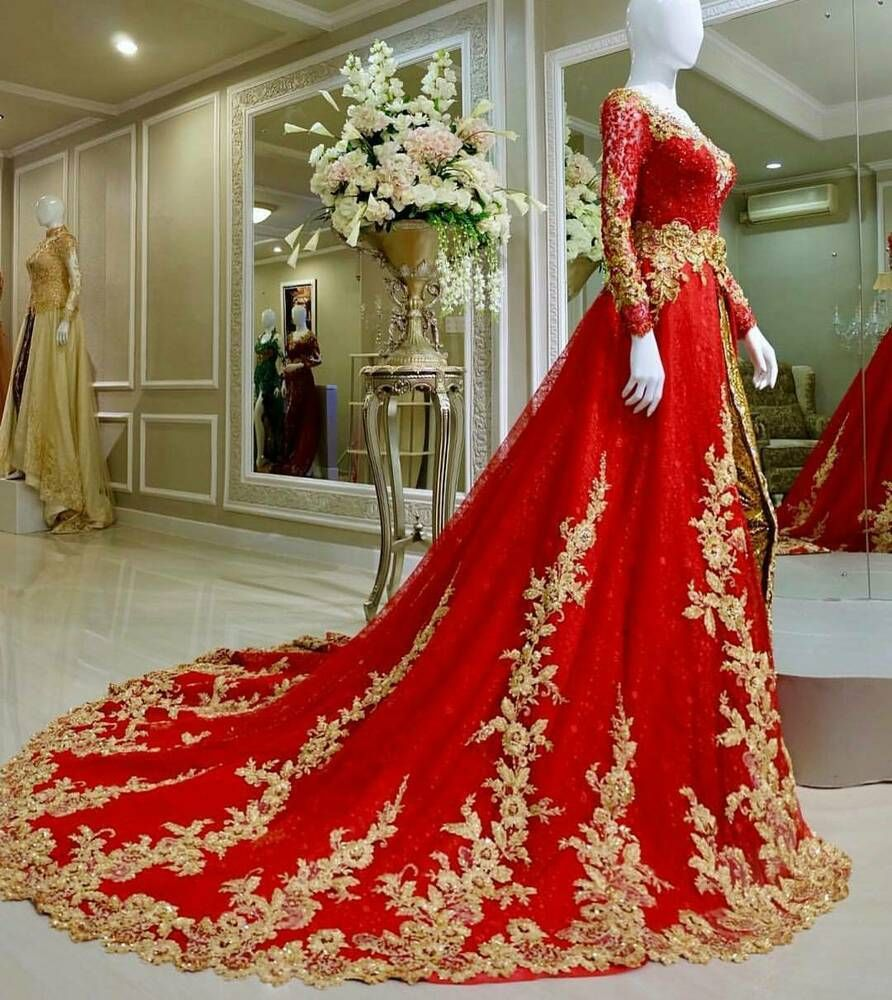Ad Ebay Red Gold Elegant Sweep Train Wedding Dresses Boho A Line