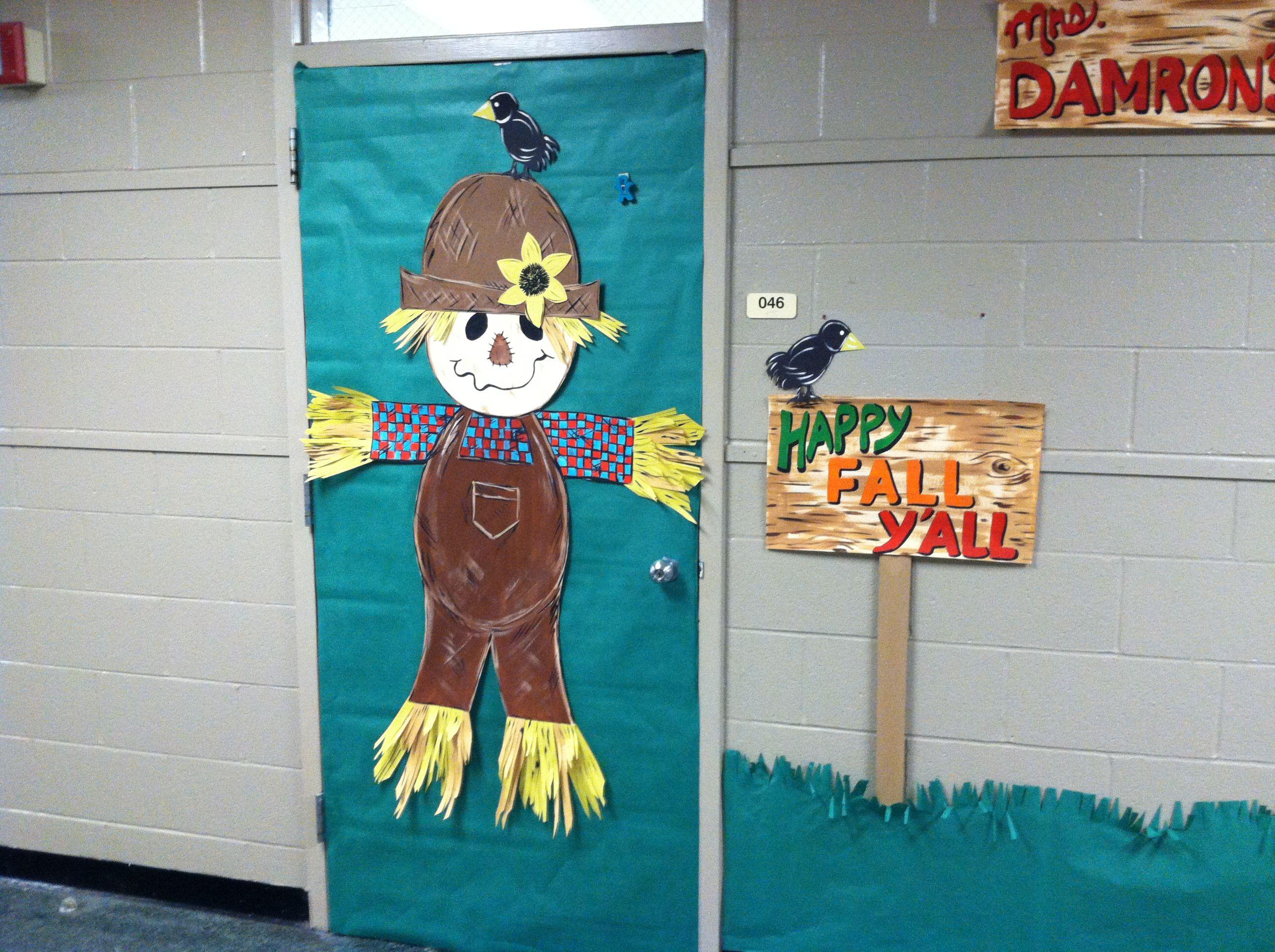 School - Fall/ scarecrow door decoration | My creations ...