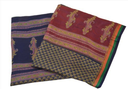 Antique-Vintage-100-Pure-Silk-Saree-Multi-Color-Printed-Sari-Home-Decor-Craft