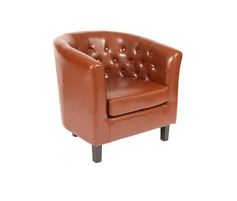 H4home Vintage Brown Tub Chair Armchair Pu Leather Living Room