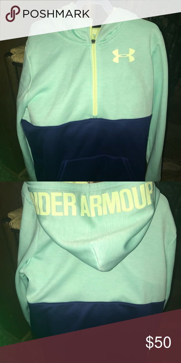 Under Armour 1 2 zip pullover NWOT Mint green Navy Under Armour Jackets   a746ce9a65