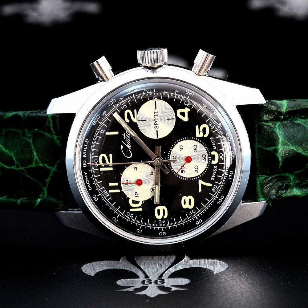 Chateau swiss nos vintage sport chronograph watch ebauches