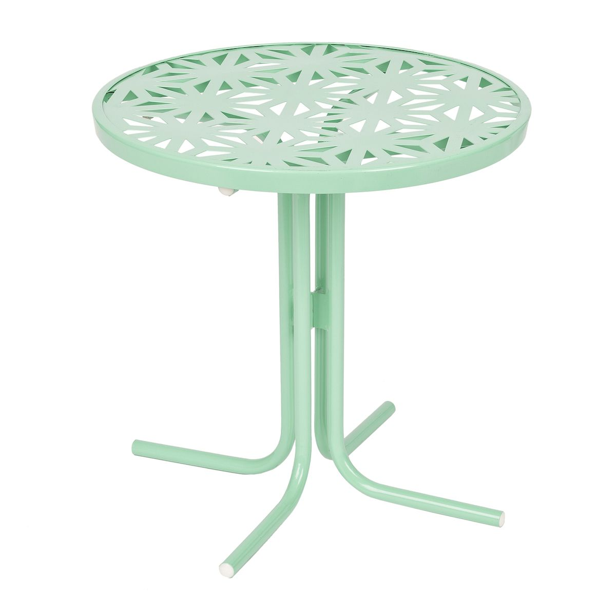Retro Turquoise Metal Side Table With Images Metal Outdoor