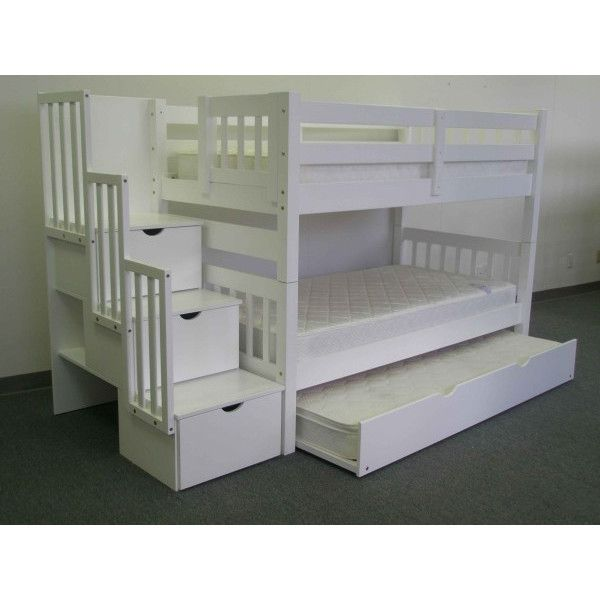 Tena Twin Over Twin Stairway Bunk Bed With Drawers And Storage