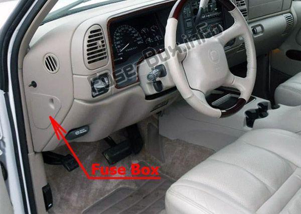 cadillac escalade (gmt 400; 1999 2000) \u003c fuse box location 2004 Cadillac Escalade Fuse Box Diagram