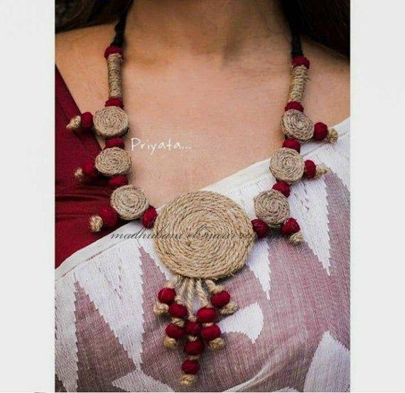 Jute Jewellery Multi Pendant Necklace /& Earrings Set 100/% Hand Crafted Jewelry