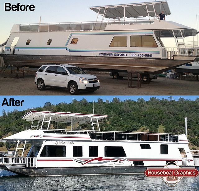 Houseboatgraphicsbeforeafter Graphics - Custom designed houseboat graphics