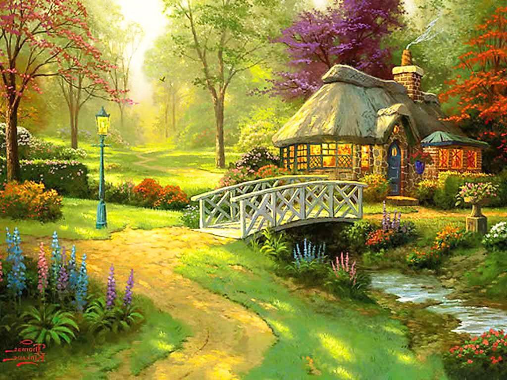 Beautiful English Bridge Cottage Garden Wallpapers Landscape Wallpaper Desktop Wallpaper Art Landscape